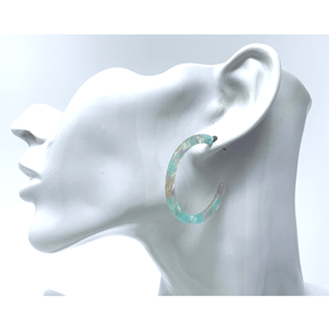 Multi Color Resin Circle Hoop Earrings - Statement Jewelry
