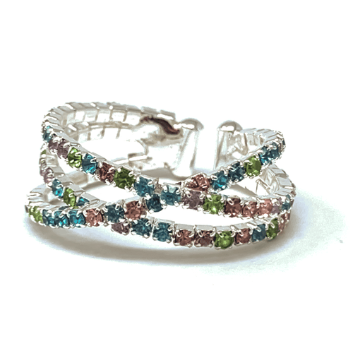 Multi Color Rhinestone Silver Memory Wire Crossover Cuff Style Stretch Ring - Fashion Jewelry