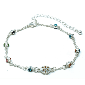 Sand Dollar Silver Ankle Bracelet With Multi Color Rhinestone - Beach Anklets