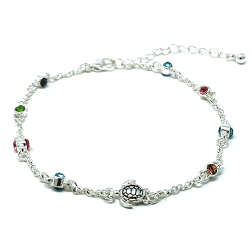 Multi Color Rhinestone Silver Turtle Beach Anklet - Ankle Bracelet