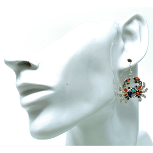 Multi Color Seed Bead Crab Beach Earrings - Beach Jewelry