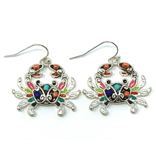 Multi Color Seed Bead Crab Silver Earrings - Beach Jewelry