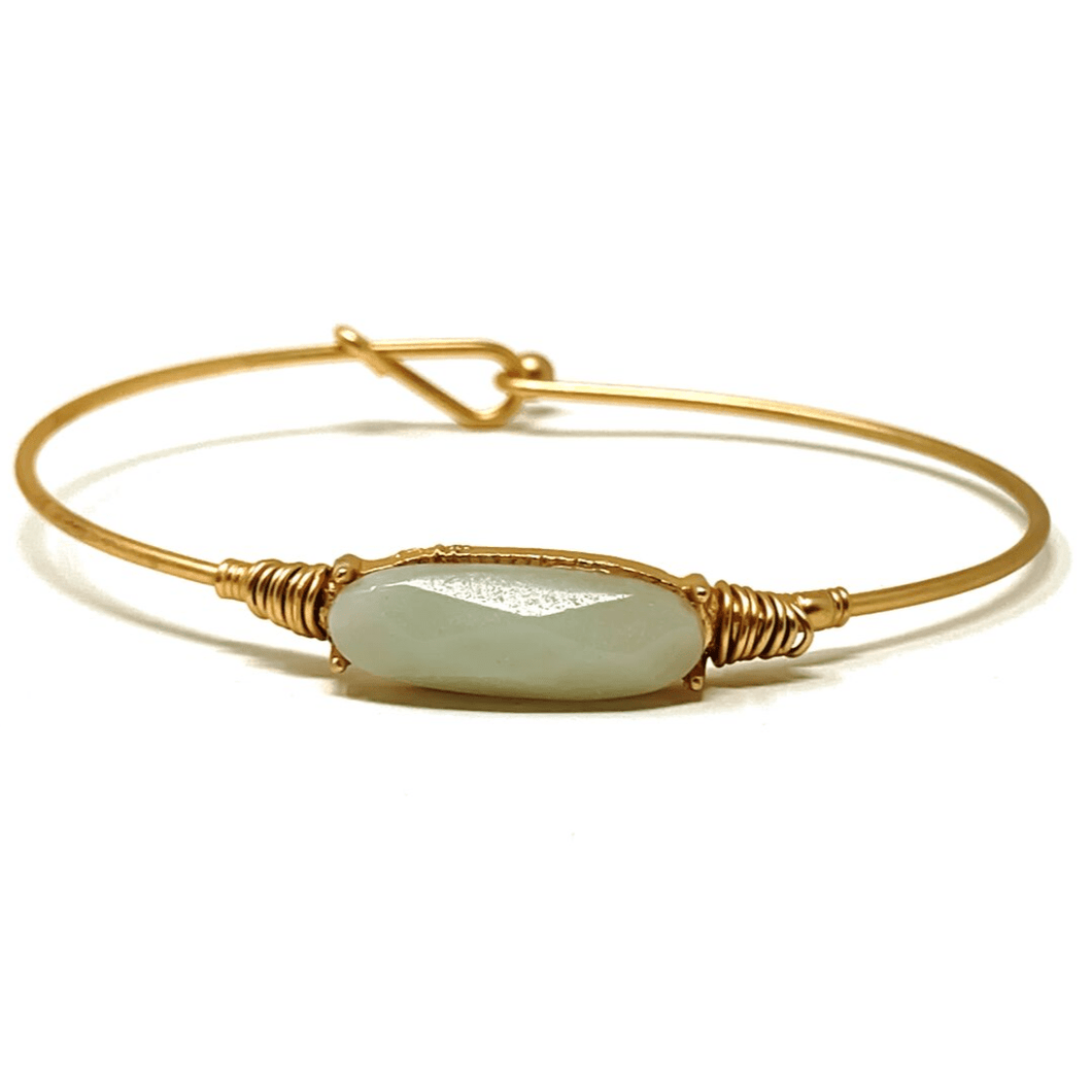 Natural Stone Gold Stacking Bangle Bracelet - Fashion Jewelry