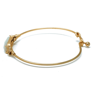 Natural Stone Gold Stacking Bangle Bracelet - Boho Jewelry