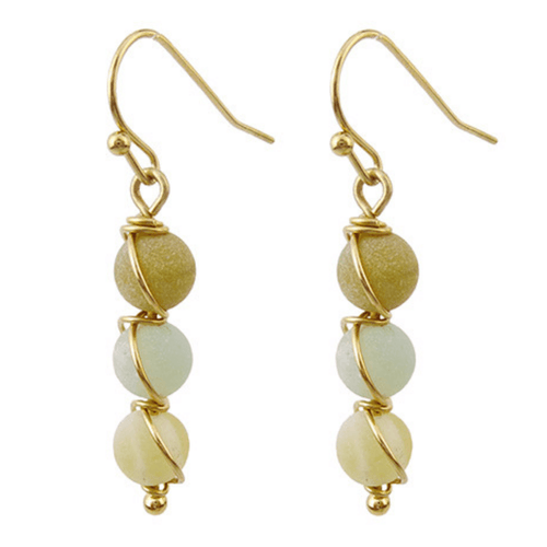 Natural Stone Gold Wrap Dangle Earrings