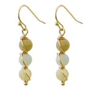 Natural Stone Gold Wrap Dangle Earrings For Women - Fashion Jewelry