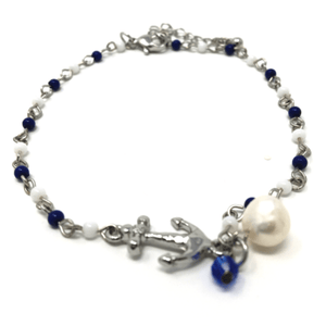 Nautical Anchor Charm Beaded Ankle Bracelet - Beach Jewelry