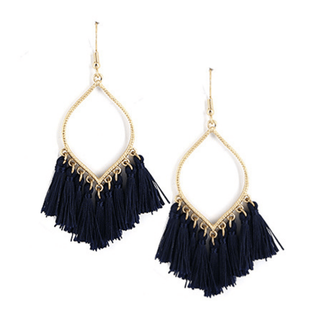 Navy Fringe Tassel Teardrop Dangle Earrings For Women - Fashion Jewelry