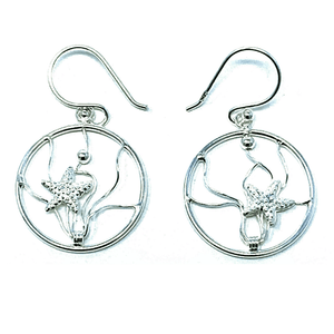 Ocean Wave Sterling Silver Starfish Earrings - Beach Jewelry