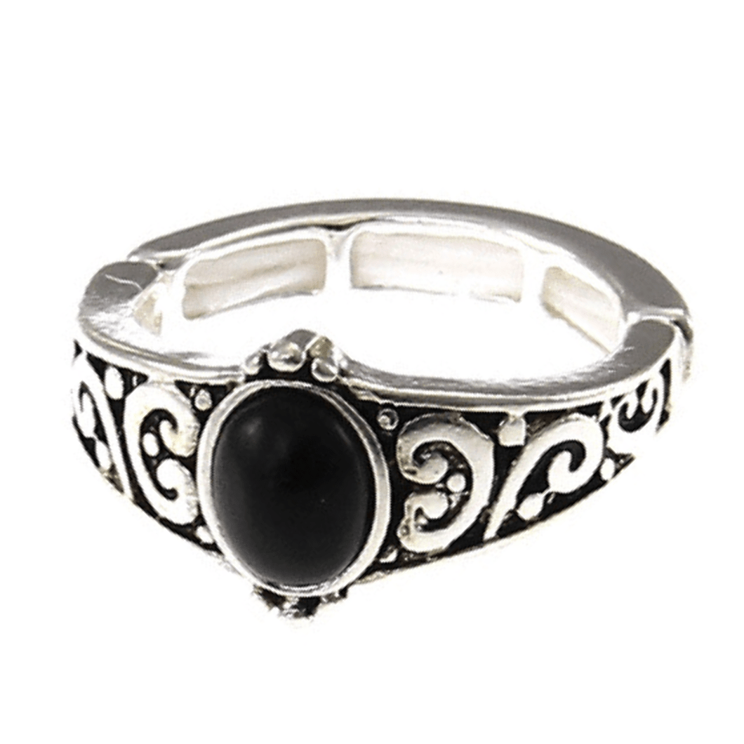 Silver Onyx Stone Stretch Ring For Women - Fashion Jewelry