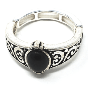 Onyx Stone Silver Stretch Ring For Women - Costume Jewelry