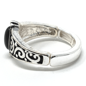 Onyx Stone Silver Stretch Ring For Women - Fashion Jewelry