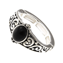 Silver Onyx Stone Stretch Ring For Women - Costume Jewelry