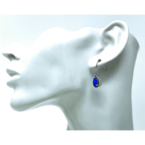 Opal & Sapphire Teardrop Dangle Earrings - SeaSpray Jewelry