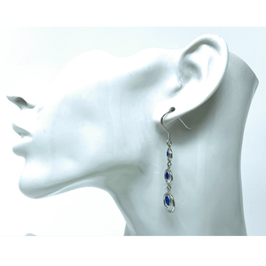 Sterling Silver Blue Opal Open Circle Earrings - SeaSpray Jewelry