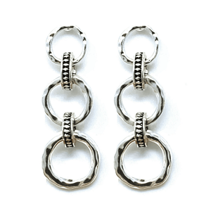 Silver Hammered Link Open Circle Earrings - Women's Fashion Earrings