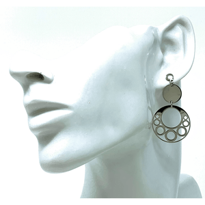 Sterling Silver Open Circle Disc Drop Earrings - SeaSpray Jewelry