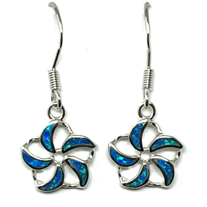 Blue Opal Open Flower Sterling Silver Dangle Earrings - SeaSpray Jewelry