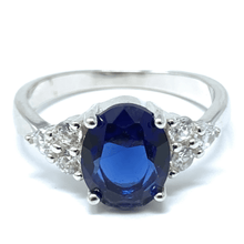 Oval Blue Sapphire .925 Sterling Silver Engagement Ring For Women - Fashion Jewelry