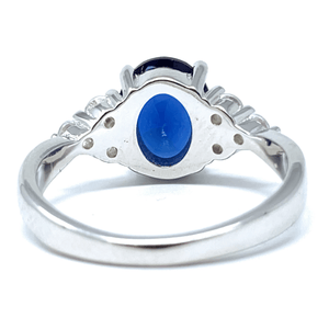 Oval Blue Sapphire CZ .925 Sterling Silver Engagement Ring For Women - Fashion Jewelry