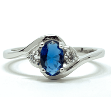 Oval Blue Sapphire & CZ .925 Sterling Silver Ring - Fashion Jewelry