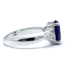 Oval Blue Sapphire CZ Sterling Silver Engagement Ring For Women - Fashion Jewelry