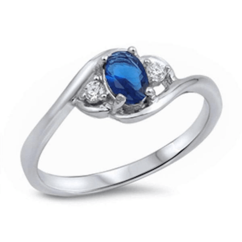 Oval Blue Sapphire & CZ .925 Sterling Silver Ring For Women - Fashion Jewelry