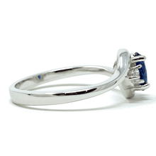 Oval Blue Sapphire & CZ Sterling Silver Ring For Women - Fashion Jewelry