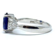 Oval Blue Sapphire Sterling Silver Engagement Ring For Women - Fashion Jewelry