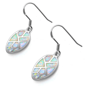 Oval Twist White Opal Mosaic Sterling Silver Dangle Earrings - SeaSpray Jewelry