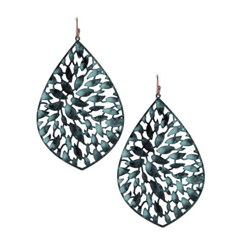 Patina Teardrop Filigree Statement Earrings For Women - Fashion Jewelry