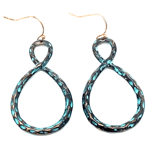 Hammered Patina Infinity Twisted Hoop Earrings - Women's Fashion Earrings