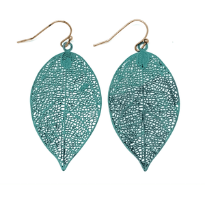 Patina Leaf Dangle Earrings - Fashion Earrings
