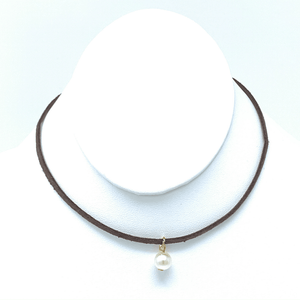Pearl Choker Necklace - Brown Suede Leather Choker