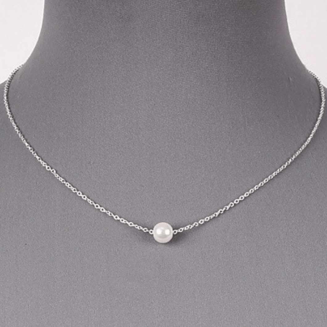 Pearl Necklace Silver Chain Wedding Bridal Bridesmaid Fashion Jewelry