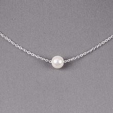 Pearl Necklace Silver Chain Wedding Bridal Bridesmaid Costume Jewelry