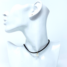 Pearl Pendant Black Suede Choker Necklace For Women