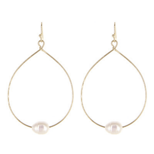 Freshwater Pearl Gold Teardrop Hoop Dangle Earrings For Women - Fashion Jewelry
