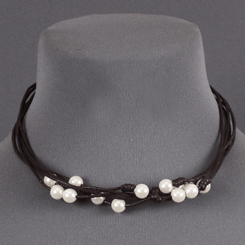 Pearls on Layered Brown Thread 16 inch Necklace - Women's Fashion Jewelry