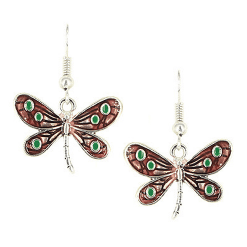 Pink Dragonfly Antique Silver Dangle Earrings For Women - Fashion Jewelry