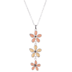 Silver Necklace With Coral Flower Sea Glass Pendant For Women - Fashion Jewelry