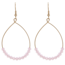 Pink Glass Bead Teardrop Hoop Earrings In Gold - Fashion Jewelry