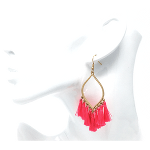 Pink Tassel Teardrop Dangle Earrings For Women - Statement Jewelry