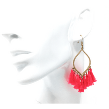 Pink Tassel Teardrop Dangle Earrings For Women - Costume Jewelry