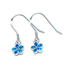 Plumeria Flower Blue Opal Inlay Sterling Silver Dangle Earrings - SeaSpray Jewelry
