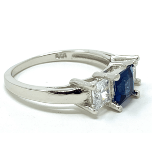 Princess Cut Blue Sapphire .925 Sterling Silver Ring For Women - Fashion Jewelry