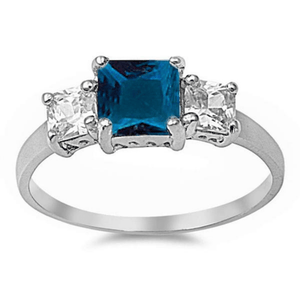 Princess Cut Blue Sapphire & CZ .925 Sterling Silver Ring For Women - Fashion Jewelry