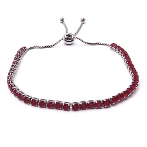 Red CZ Slide Bolo Tennis Bracelet In Silver - Women's Fashion Jewelry