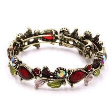 Red Crystal Flower Adjustable Bangle Bracelet In Gold - Fashion Jewelry For Women