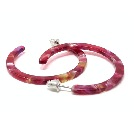 Red Marbled Resin Circle Hoop Earrings